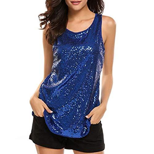 TUDUZ Paillette Tank Top Damen O-Ausschnitt Ärmellos Tops Sparkle Shimmer Camisole Oberteil Bluse(M,Blau)