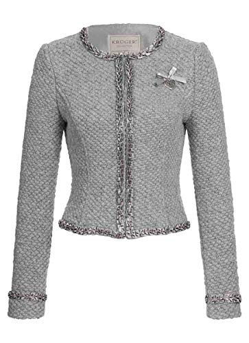 Krüger-Collection Damen Trachten-Mode Trachtenjacke Kettl in Hellgrau traditionell, Größe:42, Farbe:Hellgrau