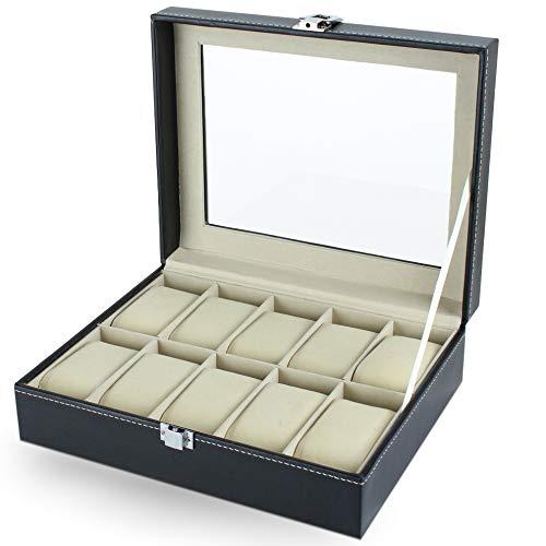 LetiStore Uhrenkasten - Uhrenbox Für Herren - Uhrenkoffer Für 10 Uhren - Uhrenaufbewahrung Damen - Uhrenaufbewahrungsbox Aus Kunstleder In Schwarz