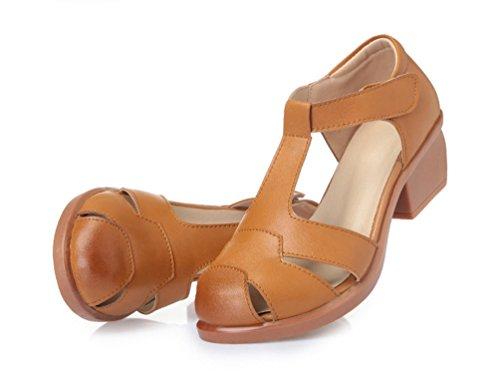 Damen Ankle-strap Plateau T-Spangen Sandalen Braun