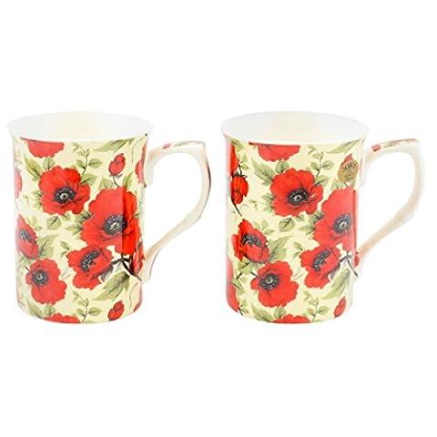 Leonardo Collection Lot de 2tasses en porcelaine fine Boîte Cadeau Design Motif floral Coquelicot Rouge