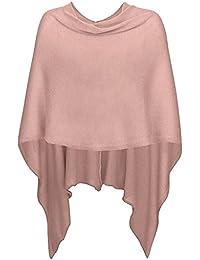 Mississhop Damen Poncho Cape Überwurf Strickjacke feiner weicher Strick Pullover Herbst Winter One Size