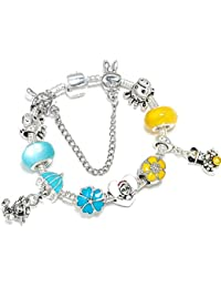 e31760f6e5f1 wangzz Pink Lovely Kitty Cat Colgante Beads Charm Bracelet para Las Mujeres  De Dibujos Animados Mickey