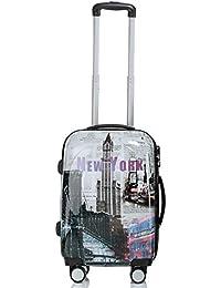 Reise Koffer Trolley mit Polycarbonat ABS Hartschale und Motiv BB