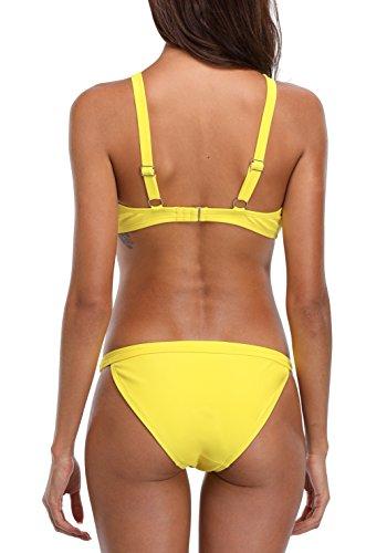 CharmLeaks Damen Sport Bikini Zweiteiler Bandeau Badeanzug Sport Tankini Oberteil + Hotpants Gelb