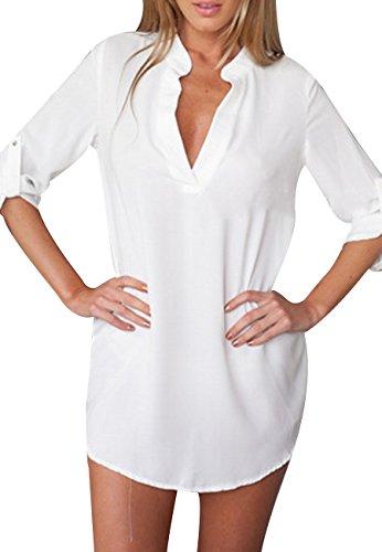 OMZIN Damen Knopf Bluse Sexy Blusen Lange Blusen für Damen Weiß XL
