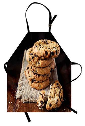 Cookie-Schürze, hausgemachte braune gebackene teigige Ware und Krümel Dessert fokussierte Leckereien, die Thema, Unisex-Küchenschürze mit verstellbarem Hals zum Kochen Backen im Garten arbeiten, ()