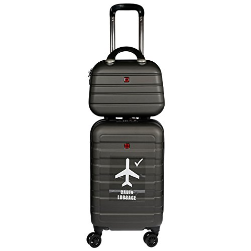 Christian Wippermann Trolley Hartschale Reisekoffer 2in1 mit Beautycase