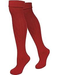 normani Damen Trachtensocken lange Kniestrümpfe/Oktoberfest Overknees mit Zopfmuster in verschiedenen Farben