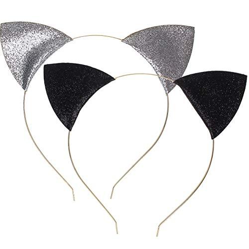 Juego de 2 diademas con orejas de gato, de Wowot, con purpurina, para uso diario o decoración de fiestas