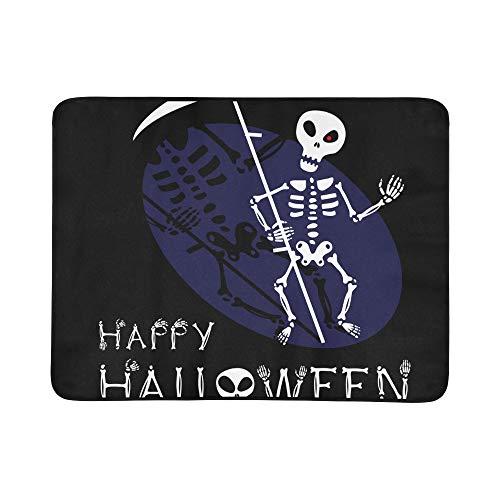 WYYWCY Nette Kawaii Skeleton Halloween Muster Tragbare Und Faltbare Deckenmatte 60x78 Zoll Handliche Matte Für Camping Picknick Strand Indoor Outdoor ()