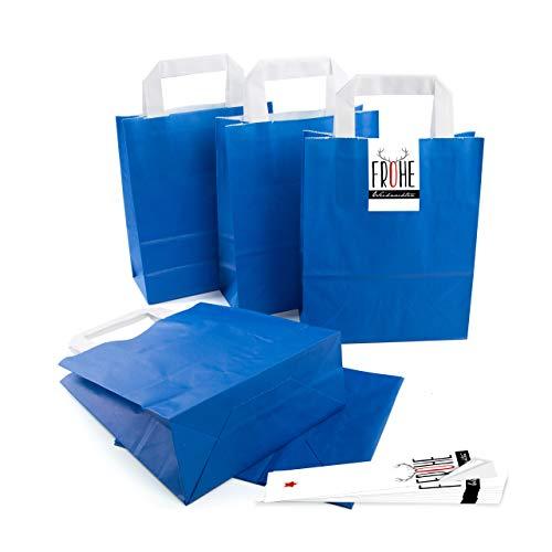 25 kleine ROYAL-blaue Papier-Tüte Geschenk-Tasche mit Henkel Boden 18 x 8 x 22 cm + 25 Aufkleber FROHE WEIHNACHTEN Hirsch-Geweih schwarz weiß rot Geschenkverpackung Kraftpapier Be-Füllen
