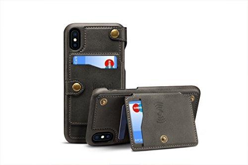 iPhone X Cover Leder, tacoo Reißverschluss Kreditkarte Visitenkartenhalter Geld Slot Slim Soft Fashion Abnehmbare Schutzhülle Wallet Handy Case Shell für Apple iPhone 102017, Schwarz (Iphone 5s-naruto-fall)