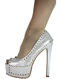 Spike High Heels Plateau Pumps Peep Toe mit Stiletto Absatz und Nieten im Italy Design Absatz 16 cm silber