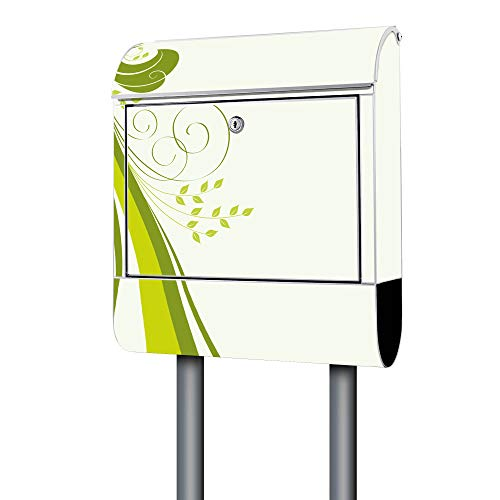 BANJADO Design Briefkasten weiß / 38x47x13cm groß mit Zeitungsfach/Stahl pulverbeschichtet/Wandbriefkasten mit Motiv Green Swirl, Briefkasten:mit silbernem Standfuß