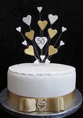 50e anniversaire de mariage Golden/Cake Toppers Décoration pour gâteau d'anniversaire Idéale pour gâteau de 20cm + 1x m 25mm Couleur Or Ruban en satin avec nœud et coeur Diamante boucle