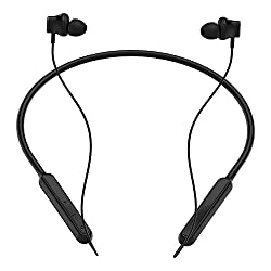 CrossBeats Vibe Bluetooth Headphones Headset Wireless Earphones for mobile with Mic, Flexi Magnetic Neckband Design with Automatic Power,Vibrate on Call,Super Bass,IPX-6 Rain Resistant Splash-proof,Noise Cancelling,Up to 9 Hours Playtime ( Rich Black)