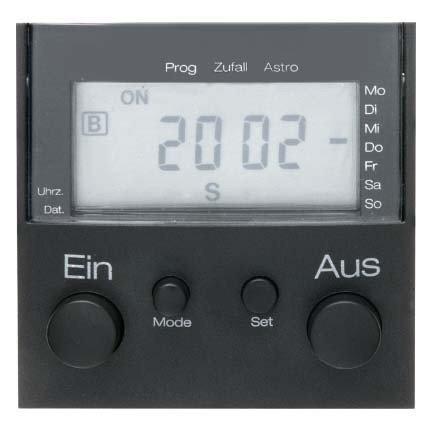 Hager LCD Zeitschaltuhr mit Steckdose B1/B3anthrazit S1 Lcd
