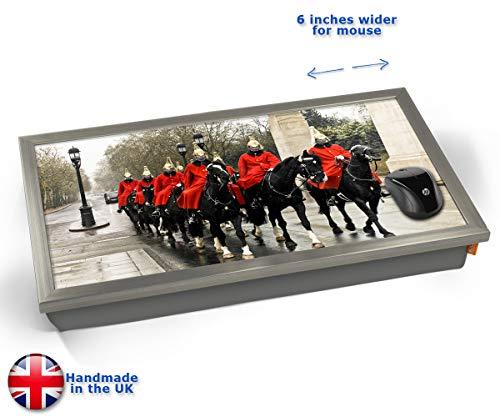 Horse Guards London Cushioned Bean Bag Laptop Lap Tray Desk - Built-in EMF Shield (Electro Magnetic Field) Kissen Tablett Knietablett Kissentablett - Chrome Effekt Rahmen