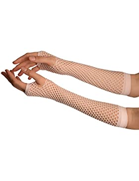 Baby Pink Fishnet Mesh Net Fingerless Party Gloves - Gloves - Rosa Guantes de moda Talla unica