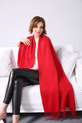 Damen Super Weich und warm 100% Kaschmir Schal Pure Pashmina Packungen Schals mit Quasten M rot (Wolle Handtasche Damen)