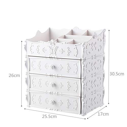 GHP Kosmetische Aufbewahrungsbox Geschnitzt Mehrschichtig Kunststoff mit 3 Schubladen, Staubdicht und Wasserdicht, Kosmetik, Parfüm, Schmuck