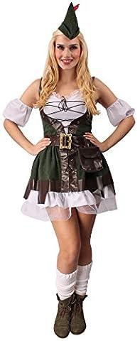 Robin Hood Kostüm in grün-braun-weiß für Damen | 36| 1-teiliges Robin Hood Kleid mit Gürtel, Güteltasche und Hut | König der Diebe Faschingskostüm für Frauen | Robin Hood Lady Kostüm für Karneval