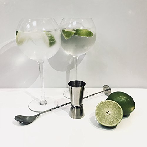 Copa de Balon Gin Glasses 600ml (Set of 4 including Cocktail Jigger Measure and Mixing Spoon) by HOKOWIN GLASSWARE