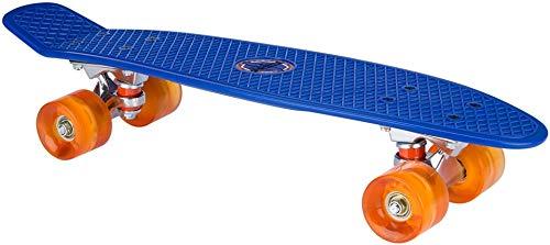 Nijdam Kids '52nd LED Rollen Kunststoff Skateboard 57,1cm Kobalt Blau/Orange, One Size