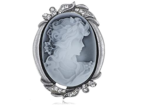 Alilang Silvery Tone Clear Crystal Colored Rhinestones Grey Vintage Inspired Cameo Lady Brooch Pin