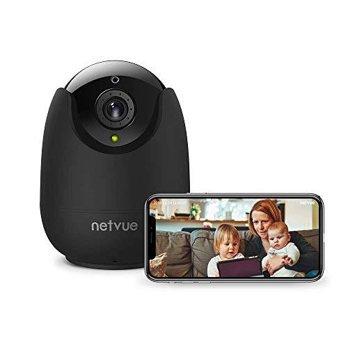 NETVUE IP Kamera Indoor WLAN Überwachungskamera Innen WLAN Handy Sicherheit Kamera Baby Monitor mit 355°/100°Schwenkbar, 8X Zoom, Bewegungserkennung,Cloud-Speicher, Zwei-Wege-Audio,Nachtsicht,Schwarz (Was Ist Chat)