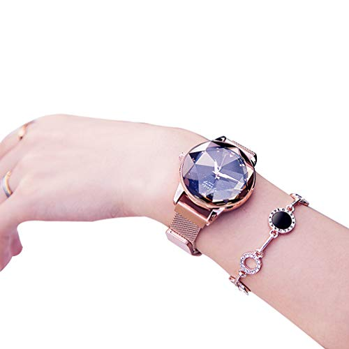 WAOBE Fashion Damenuhr, Crystal Diamond Wasserdichte Uhren Damen Magnetischen Edelstahl Armband Zifferblatt Damen Quarzuhr,Gold