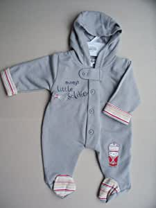 Baby boys 'Mummy's Little Soldier' all in one outfit Stone (3-6 Months)