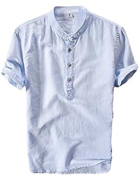 Icegrey Camicia Uomo Camicie di Lino a Maniche Corte Henley T-Shirt Top Pullover Estive Camicia Azzurro 42