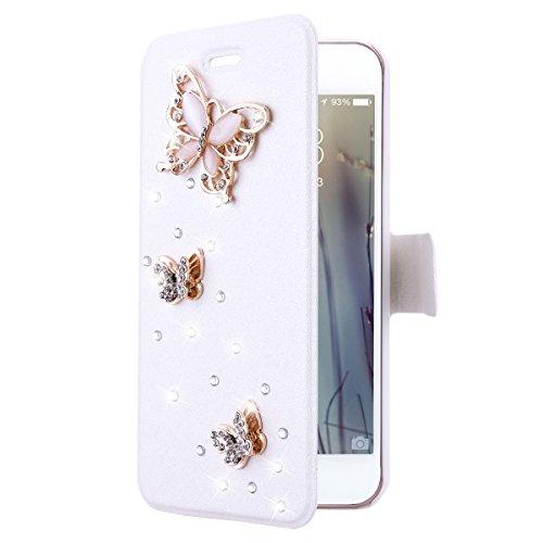 iPhone 6S Handyhülle, iPhone 6 Hülle Strass Glitzer (4.7 Zoll), GrandEver Diamant Schutzhülle DIY Crystal Wallet Case Schale Tasche Flip Cover Leder Ledertasche mit Handschlaufe Standfunktion Kreditka Schmetterling