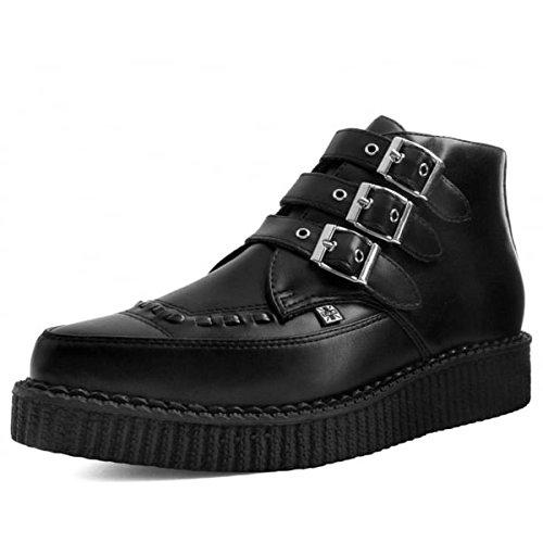 T.U.K. Shoes Tukskin Negro 3-hebilla Señaló Arranque De Enredadera Vegano EU41 / UKW8 UKM7