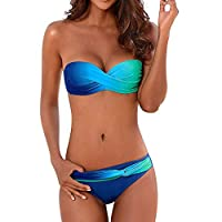Women Ombre Sexy Bikini Swimsuits Backless Strapless Swimwear L