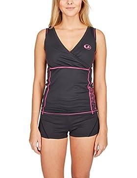 Ultrasport 10333 - Camiseta para mujer, color negro/rosa, talla L