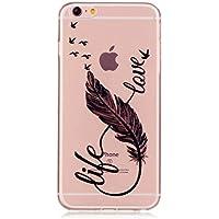 iPhone 6 Plus Hülle, iPhone 6s Plus Schutzhülle, MUTOUREN Crystal Kirstall Handyhülle Case Cover TPU Silikontasche TransparentGel Anti-Scratch Tasche Etui Bumper Weiß - Vögel Feder und Liebe