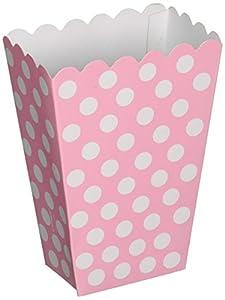 Unique Party- Paquete de 8 cajas para palomitas a lunares, Color rosa claro, 59298)