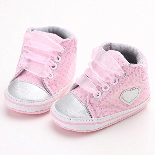 Hunpta Baby Mädchen Baumwolle Hig Cut Schuhe Sneaker rutschfest weiche Sohle Kleinkind (Alter: 6 ~ 12 Monate, Rosa) Rosa