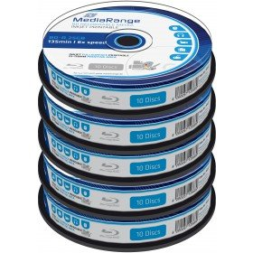 Blu-ray Disc Mediarange BD-R 25 GB, 6x Speed fullprintable in Cakebox 50 Stück
