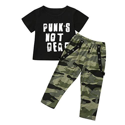 Sanahy Babykleidung Mädchen Sommer, Kleinkind-Baby Jungs & Mädchen Tops Kurzarm Brief drucken T-Shirts + Tarnung Camouflage Kurze Hose Outfits Set