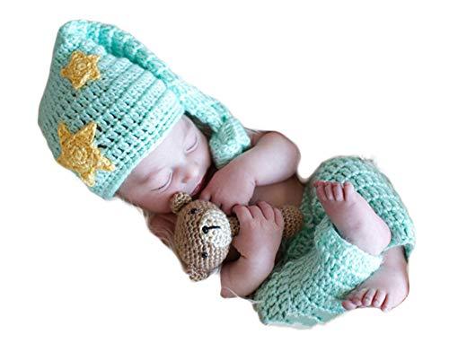 Baby Mond Kostüm - Neugeborenes Baby Mädchen häkeln Kostüm Outfits Fotografie Requisiten Mond und Sterne Hut+Hose 0-6 Monate