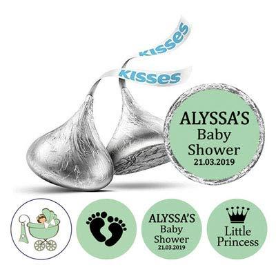 Darling Souvenir 190-Pack für kleine Prinzessin Sticker Hershey Kisses Süßigkeit Labels-Mint