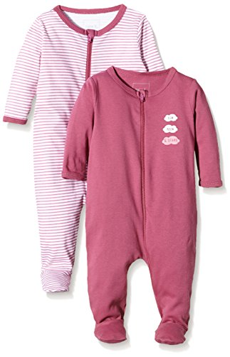 NAME IT Baby-Mädchen NITNIGHTSUIT Zip W/F NB G NOOS Schlafstrampler, Mehrfarbig (Red Violet), 68 (per of 2