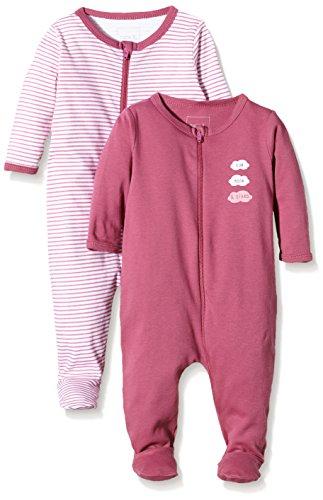 NAME IT Baby-Mädchen NITNIGHTSUIT ZIP W/F NB G NOOS Schlafstrampler, Mehrfarbig (Red Violet), 68 (erPack 2