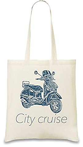 City cruiser Custom Printed Tote Bag| 100% Soft Cotton| Natural Color & Eco-Friendly| Unique, Re-Usable & Stylish Handbag For Every Day Use| Custom Shoulder Bags By Bang Bangin