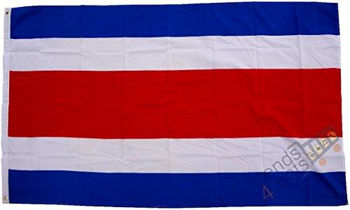 Top Qualität - Flagge Costa Rica Fahne, 250 x 150 cm, EXTREM REIßFEST, Keine BILLIG-CHINAWARE, Stoffgewicht ca. 100 g/m², sehr robust, extra starke Messing-Ösen - mehrfach umlaufend genäht, ideal als Hissflagge Hissfahne für Innen/Außen, für Haus, Garten zur Deko