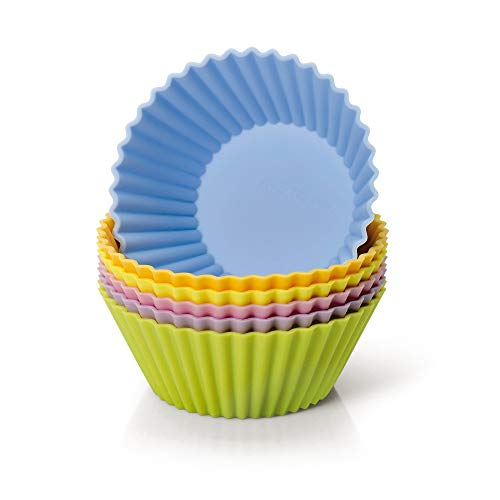 Kaiser Creativ Silikon Muffinform-Set, 6-teilig farbig, Ø 8 cm, Silikonbackform, antihaftbeschichtet, Muffinförmchen, wiederverwendbar, ideal für Muffins, Cupcakes, Kekse, Schokolade und Eiscreme